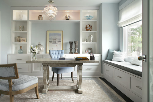 Happy paint colors in a home office by Jennifer Pacca Interiors