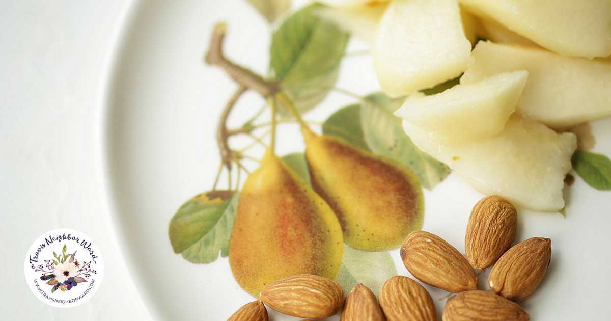 For healthy snacks under 150 calories try mixing pears and almonds.