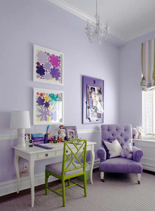 Happy paint colors in this Purple-bedroom-by-Rusk-RenovationsHouzz