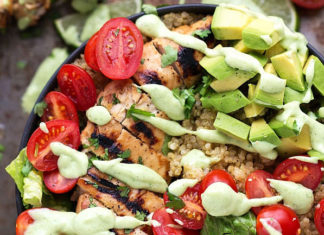 Grilled Honey-Lime Chicken over Cilantro-Lime Quinoa by Chelsea's Messy Apron