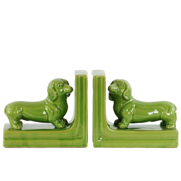 Dog bookends ceramic green dachshunds