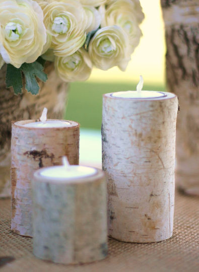 Handmade birch bark candle holders by Steven and Rae