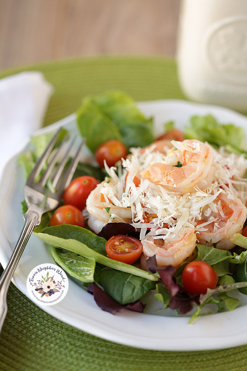shrimp salad with cherry tomatoes and parmesan cheese 2