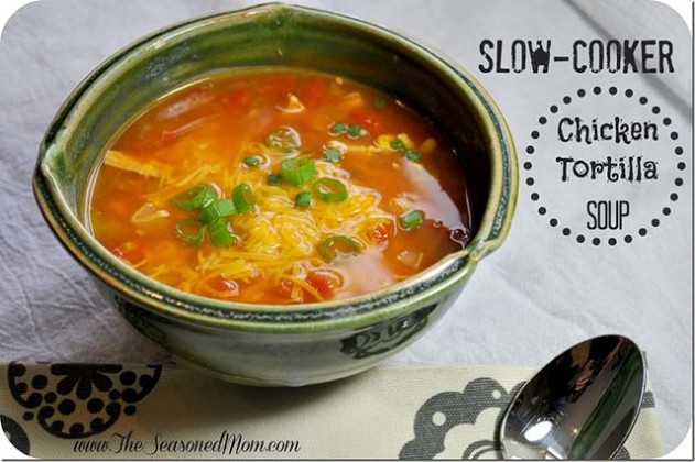 Slow cooker soup with chicken tortilla by The Seasoned Mom