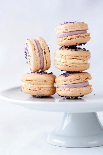 Edible flower recipes include these violet macarons
