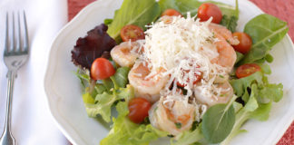 shrimp salad with cherry tomatoes and parmesan cheese featured photo