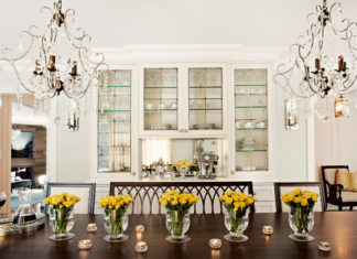 Dining room table centerpieces by Elizabeth Metcalfe Interiors & Design Inc.