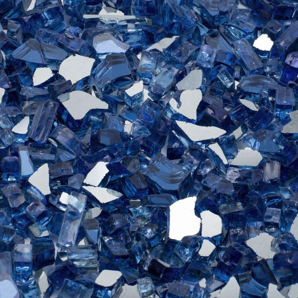 Build a fire pit with blue tempered fire glass