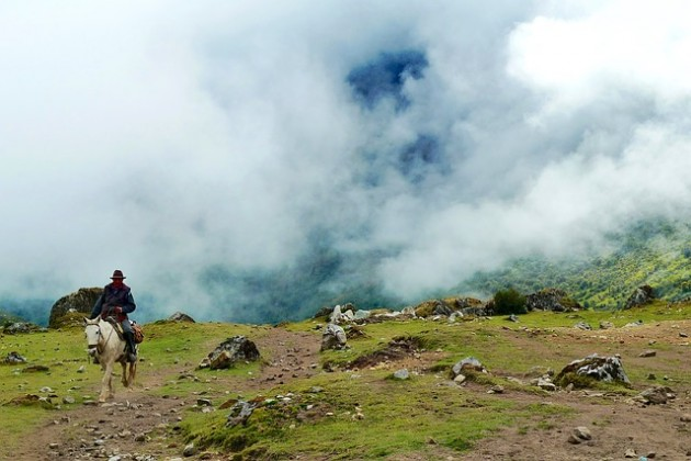 Horseback riding vacations can be in the mountains