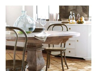 round kitchen tables: Aldridge antique gray dining table round 53 in