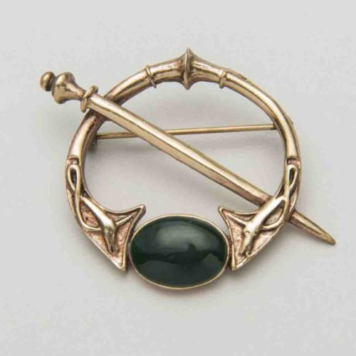 Celtic bronze green agate brooch from Kilkenny via The Irish Store