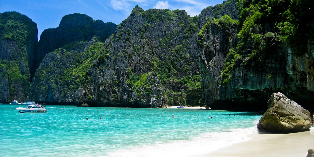 Maya Bay beach in Phi Phi, Thailand