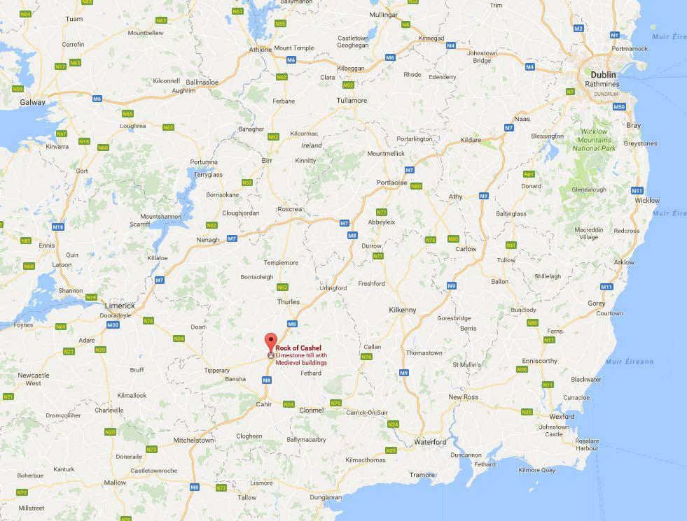 Rock of Cashel Map in Ireland