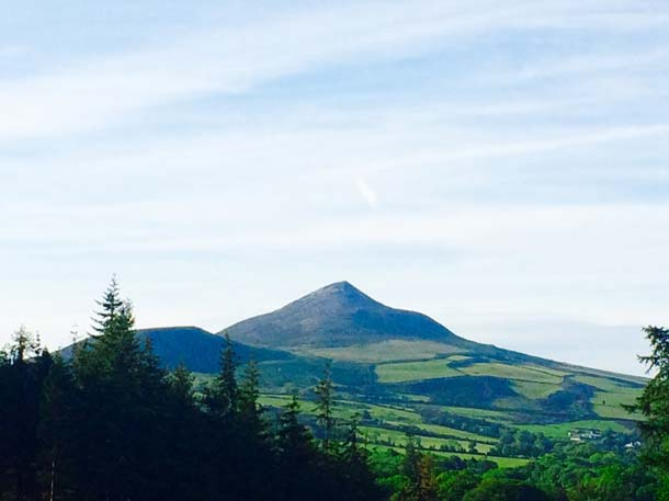 Sugar Loaf Mountain faces Powerscourt Hotel