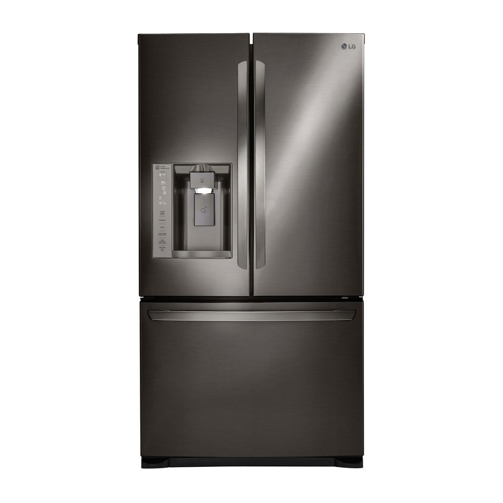One of the best French door refrigerators: the LG LFX28968D in black stainless steel