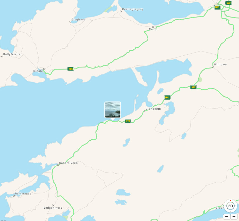 Map of driving the Ring of Kerry from Portmagee to Dingle