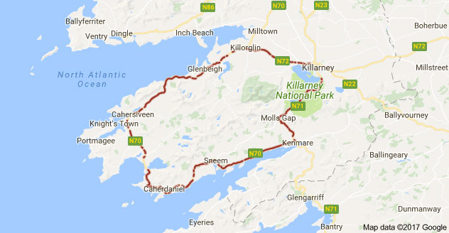 Map Of Ireland Showing Dingle.Driving The Ring Of Kerry Portmagee To Dingle Travis Neighbor Ward