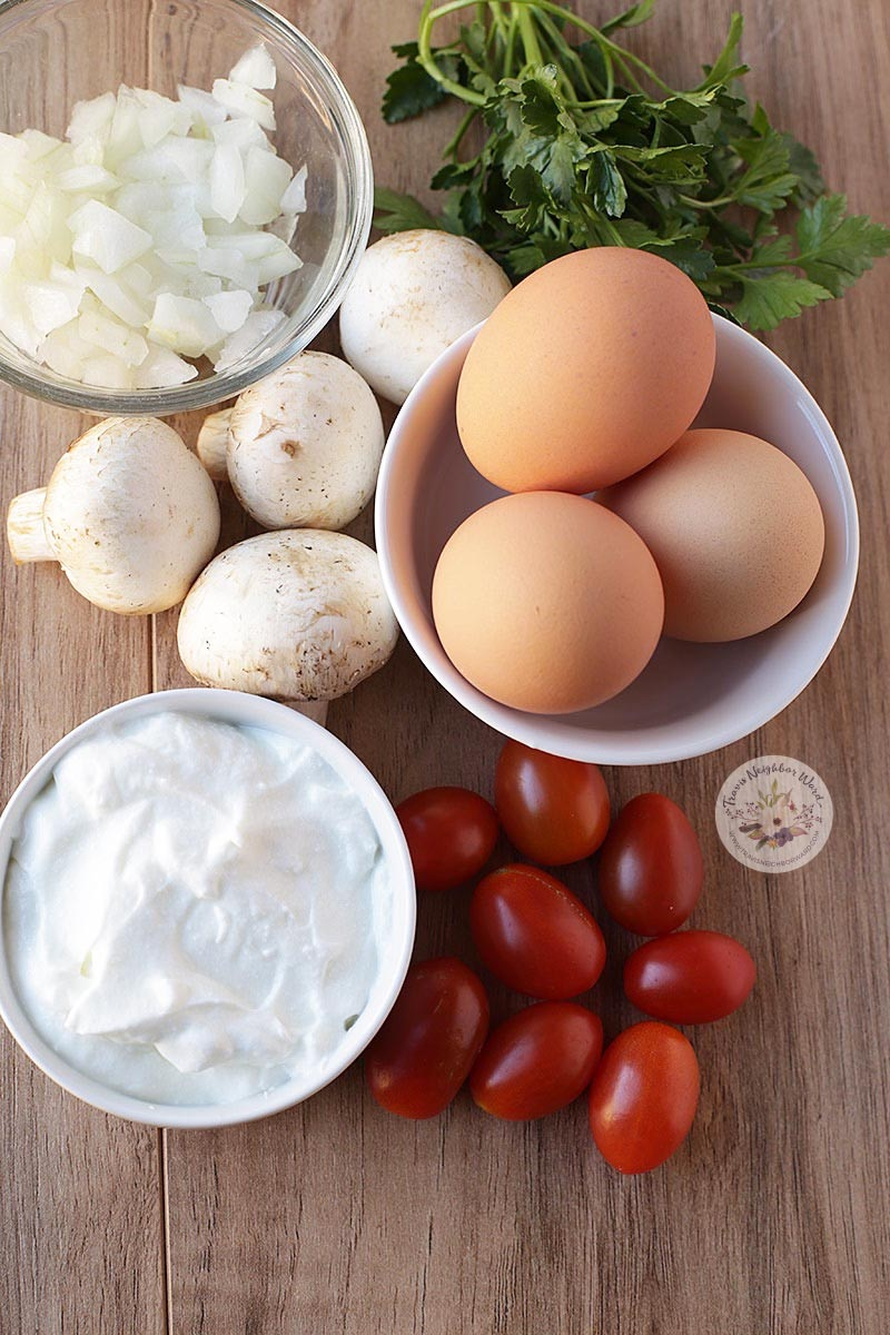 Ingredients for this mushroom quiche recipe, plus mozzarella cheese