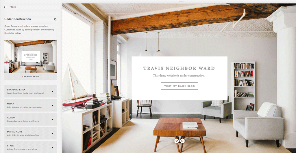 Squarespace cover page for interior design