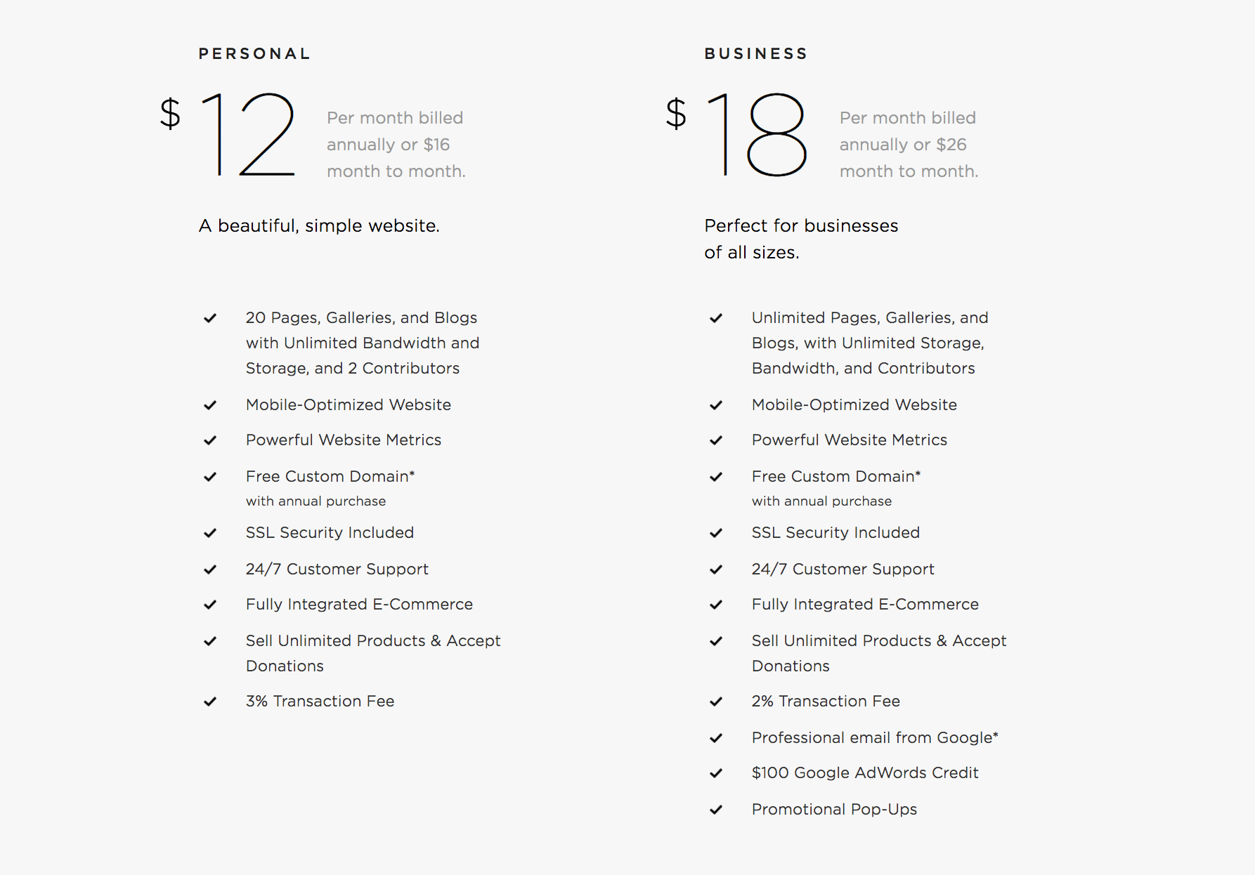 Squarespace review: website pricing