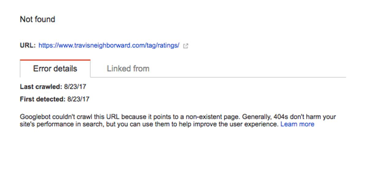 SEO audit of my website: Google error page details